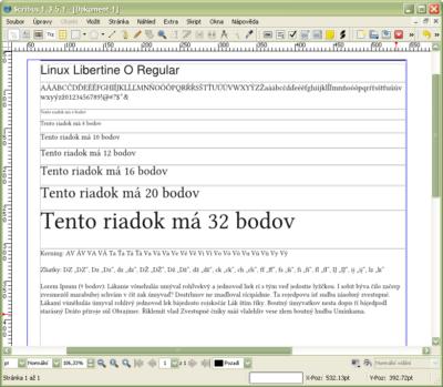 Ukážka fontu so všetkými možnosťami vložených textov