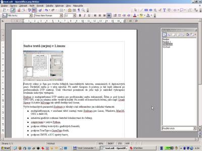 Dokument v OpenOffice.org před importem do Scribusu