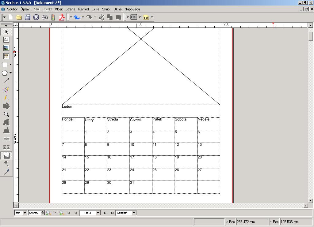 Scribus vygeneruje nový soubor s kalendářem. Ten je zatím bez obrázků a pokročilého formátování