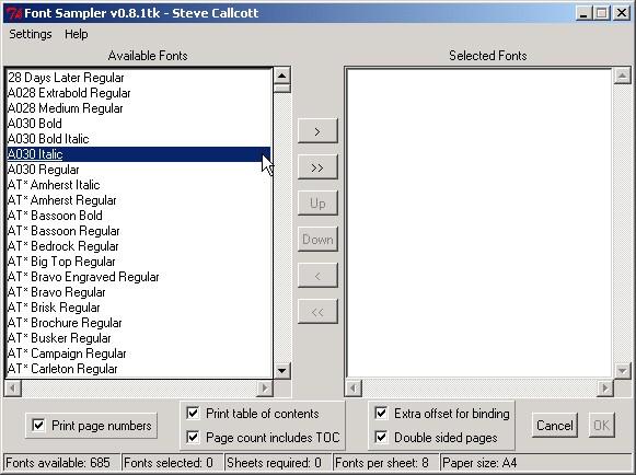 Dialogové okno Font Sampler