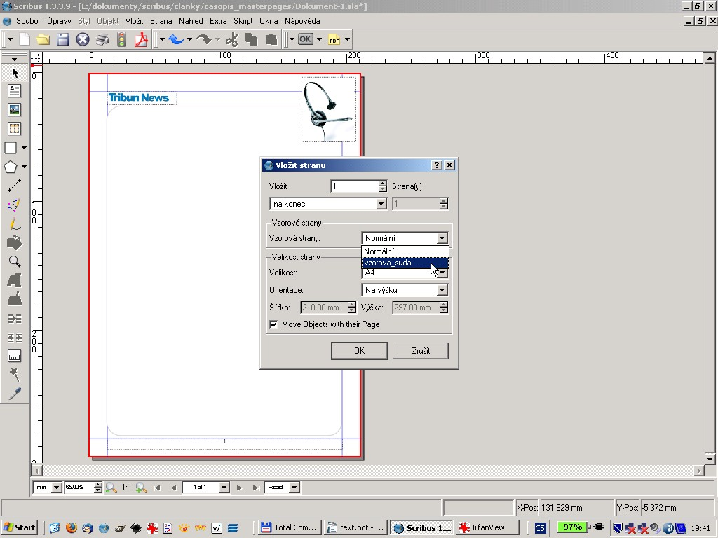 Vložení vzorové strany (master page)